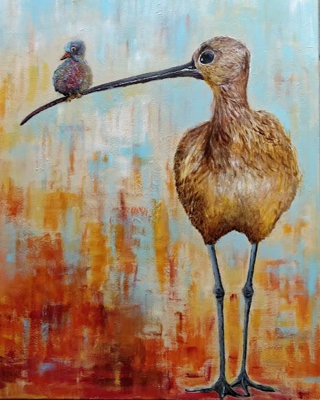 Fugl på næbet 60x80
